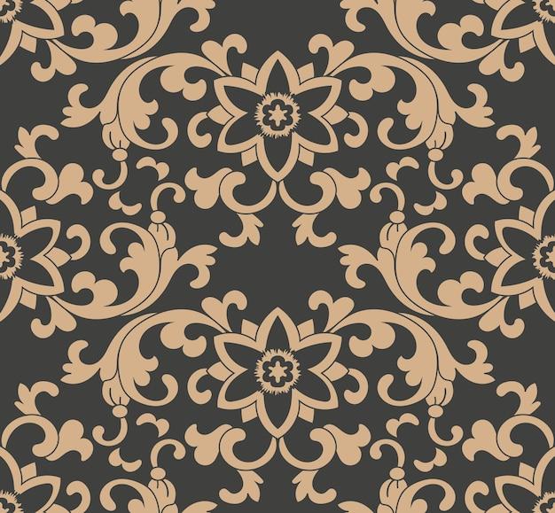 다 완벽 한 복고풍 패턴 배경 식물원 나선형 곡선 크로스 식물 프레임 포도 나무 잎 꽃.