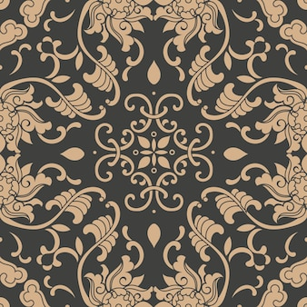 Damask seamless retro pattern background botanic garden spiral curve cross plant frame vine leaf flower.