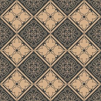 다 완벽 한 복고풍 패턴 배경 체크 곡선 형상 프레임 꽃 라인.