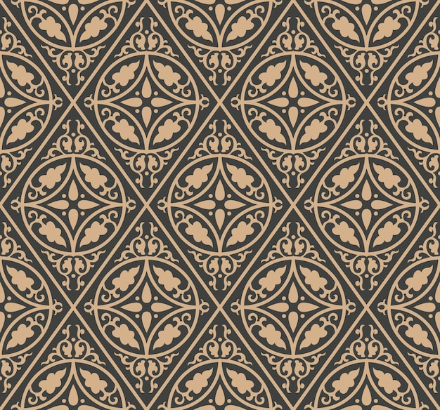Damask seamless retro pattern background check round spiral curve cross leaf frame chain.