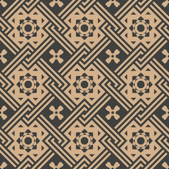 Damask seamless retro pattern background check square geometry cross frame chain star flower.