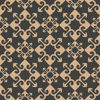 Damask seamless retro pattern background curve arrow geometry cross kaleidoscope.