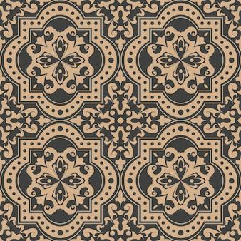 다 완벽 한 복고풍 패턴 배경 곡선 크로스 도트 라인 프레임 꽃 잎 덩굴.