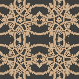 Damask seamless retro pattern background curve cross frame chain flower.