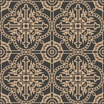 다 마스크 완벽 한 복고풍 패턴 배경 곡선 크로스 다각형 도트 라인 프레임 꽃.