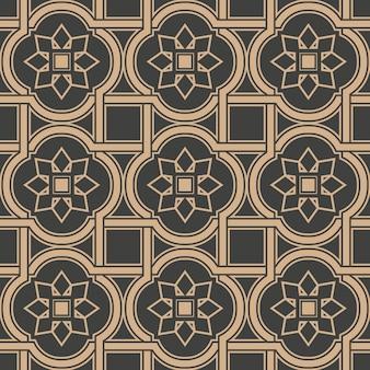 다 완벽 한 복고풍 패턴 배경 곡선 크로스 사각 프레임 라인 꽃.