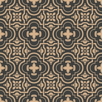 Damask seamless retro pattern background curve spiral cross frame chain flower.