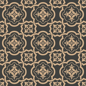 Damask seamless retro pattern background curve spiral cross frame chain leaf flower.
