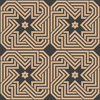 Damask seamless retro pattern background geometry polygon cross spiral vortex frame chain line star.