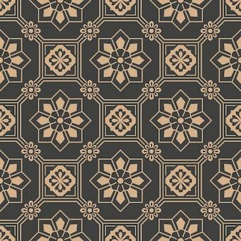 ダマスク織のシームレスなレトロなパターンの背景オリエンタル八角形の正方形の幾何学クロスフレームの花。
