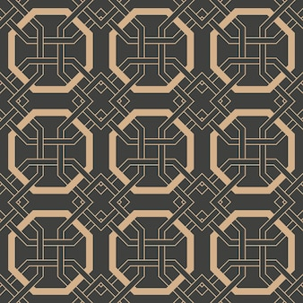 Damask seamless retro pattern background oriental polygon geometry cross frame chain.