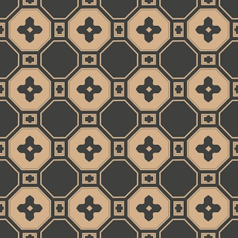 Damask seamless retro pattern background oriental polygon square cross frame flower chain.