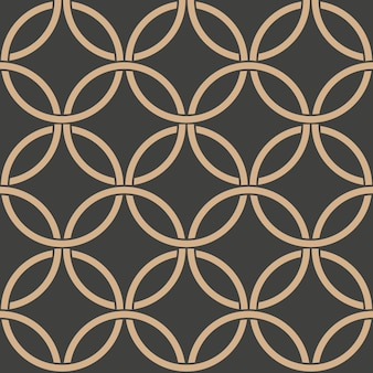 Damask seamless retro pattern background oriental round curve cross frame chain.