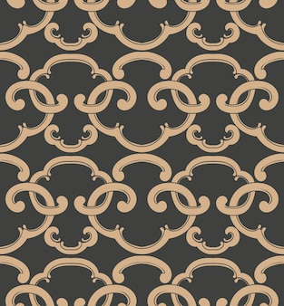 Damask seamless retro pattern background oriental spiral curve cross frame chain crest.