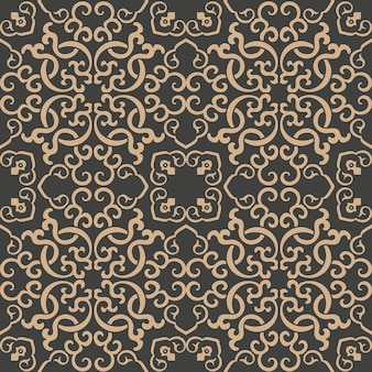 Damask seamless retro pattern background oriental spiral curve cross frame chain vine.