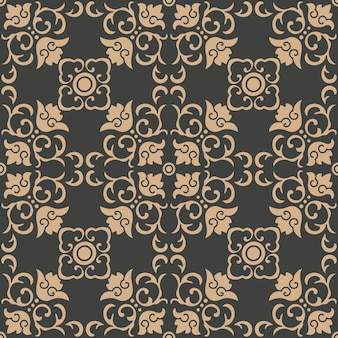 Damask seamless retro pattern background oriental spiral curve cross frame vine leaf flower.
