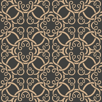Damask seamless retro pattern background oriental spiral curve round cross vortex frame vine chain.