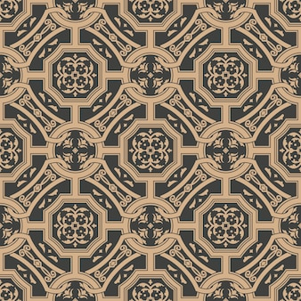 Damask seamless retro pattern background polygon cross frame chain leaf flower.