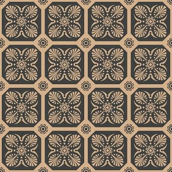 다 완벽 한 복고풍 패턴 배경 다각형 곡선 크로스 잎 꽃 프레임.