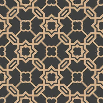 Damask seamless retro pattern background polygon geometry cross chain frame star flower.