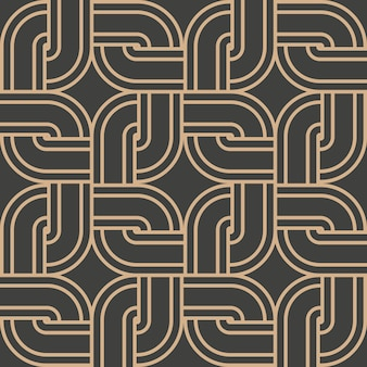 Damask seamless retro pattern background round curve corner cross square frame chain line.