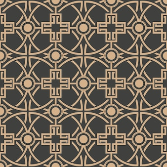 Damask seamless retro pattern background round curve cross frame chain.