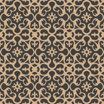 다 완벽 한 복고풍 패턴 배경 라운드 곡선 크로스 프레임 꽃 만화경. 프리미엄 벡터