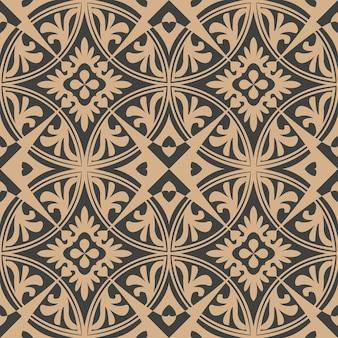다 완벽 한 복고풍 패턴 배경 라운드 곡선 크로스 프레임 식물 포도 나무 꽃.