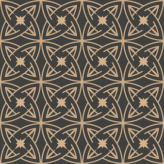 Damask seamless retro pattern background round curve cross star frame chain.