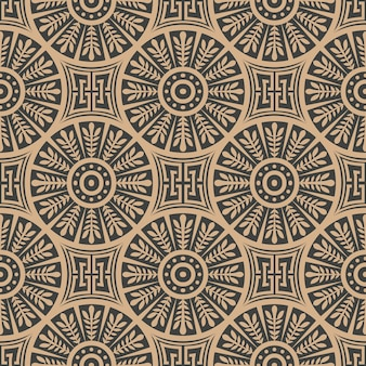 Damask seamless retro pattern background round spiral cross leaf frame chain line.