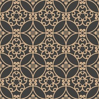 다 완벽 한 복고풍 패턴 배경 라운드 나선형 곡선 크로스 프레임 포도 나무 꽃.