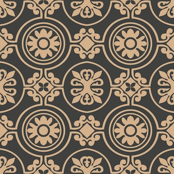 Damask seamless retro pattern background rouns spiral curve cross frame flower.