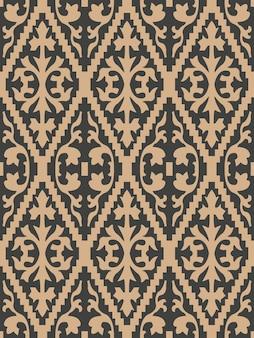 ダマスク織のシームレスなレトロなパターンの背景の鋸歯状のチェッククロス植物の葉のフレーム。