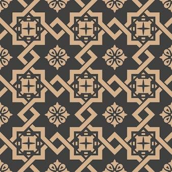 Damask seamless retro pattern background spiral check cross frame chain flower.