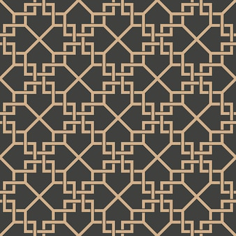Damask seamless retro pattern background spiral cross check frame chain line.