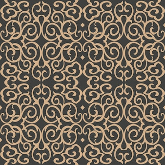 Damask seamless retro pattern background spiral curve cross fame chain kaleidoscope