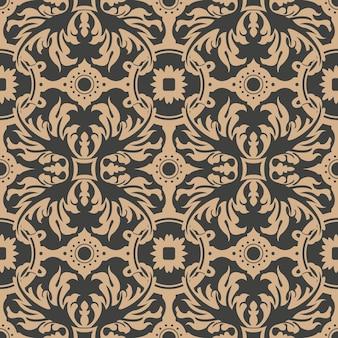다 완벽 한 복고풍 패턴 배경 나선형 곡선 크로스 깃털 잎 꽃.