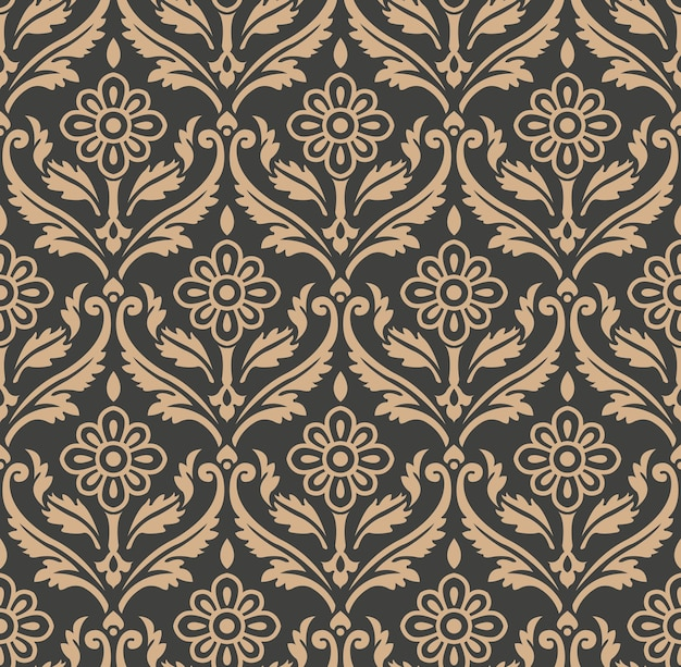 Damask seamless retro pattern background spiral curve cross frame botanic garden nature leaf flower.