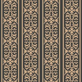 다 완벽 한 복고풍 패턴 배경 나선형 곡선 크로스 프레임 체인 잎 포도 나무 꽃 문장 라인.