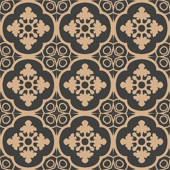 다 완벽 한 복고풍 패턴 배경 나선형 곡선 크로스 프레임 라인 꽃.