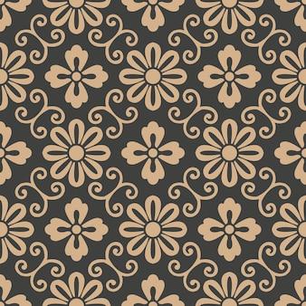다 완벽 한 복고풍 패턴 배경 나선형 곡선 크로스 프레임 포도 나무 잎 꽃.