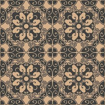 다 완벽 한 복고풍 패턴 배경 나선형 곡선 크로스 동양 프레임 체인 잎 포도 나무 꽃.