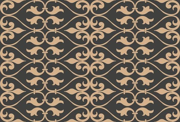 다 완벽 한 복고풍 패턴 배경 나선형 곡선 크로스 식물 잎 프레임 라인.