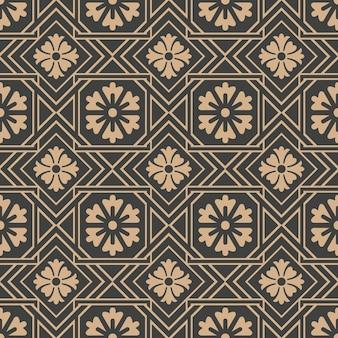 다 완벽 한 복고풍 패턴 배경 사각형 체크 형상 크로스 프레임 라인 꽃.