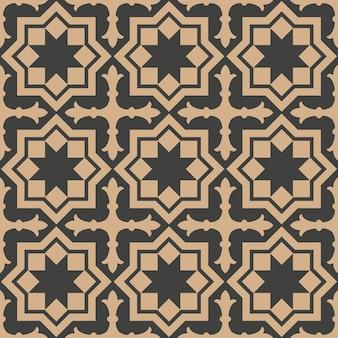 ダマスク織のシームレスなレトロなパターンの背景星クロスポリゴンジオメトリフレーム。