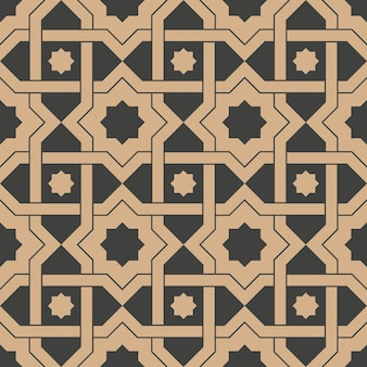 Damask seamless retro pattern background star geometry cross frame chain.