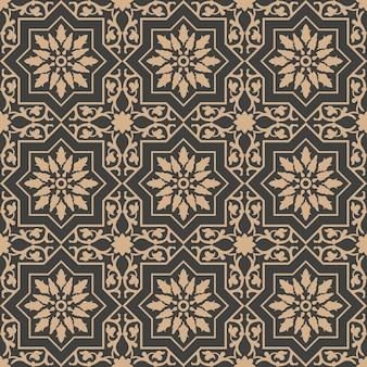 다 완벽 한 복고풍 패턴 배경 스타 나선형 크로스 형상 프레임 꽃 잎 덩굴.