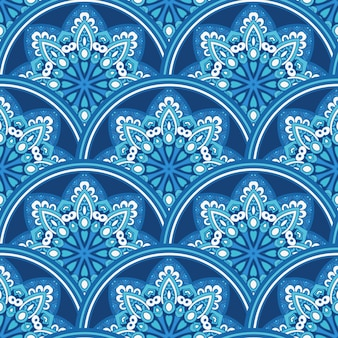 Damask seamless tiles vector design blue and white. winter snowflakes decorative repeat.