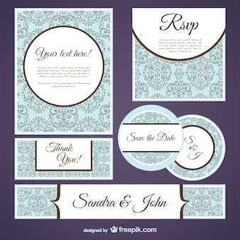 Damask style card templates pack Free Vector