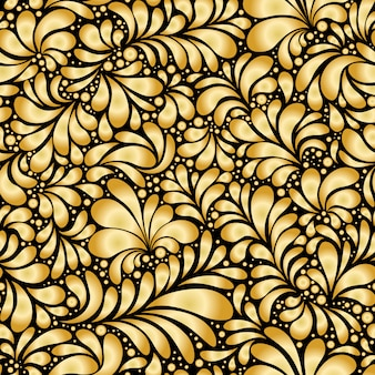 Damask teardrop gold ornament, seamless pattern